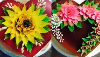 Cách vẽ hoa hồng siêu đẹp trên bánh rau câu 3D