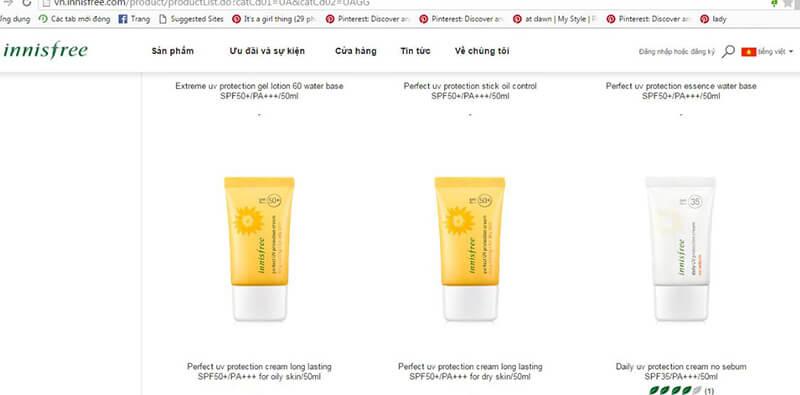 8 Kem chống nắng được bán trên website chính thức của Innisfree
