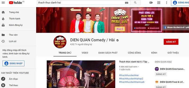 Kênh Youtube để bạn có thể vào và thưởng thức toàn bộ các tập của chương trình Thách Thức Danh Hài