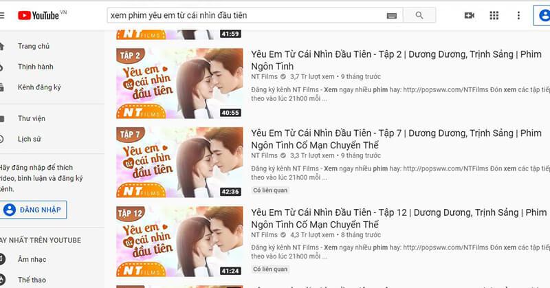 Truy cập vào Youtube để tìm kiếm bộ phim và làm theo hướng dẫn