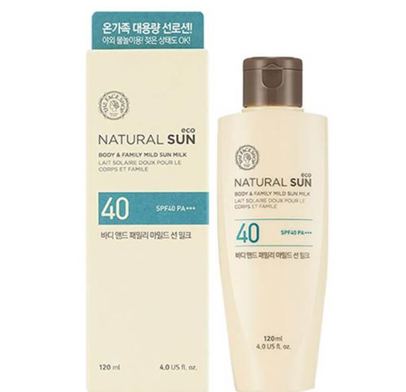 Kem chống nắng The Face Shop natural sun Body & family Mild Sun Milk SPF40