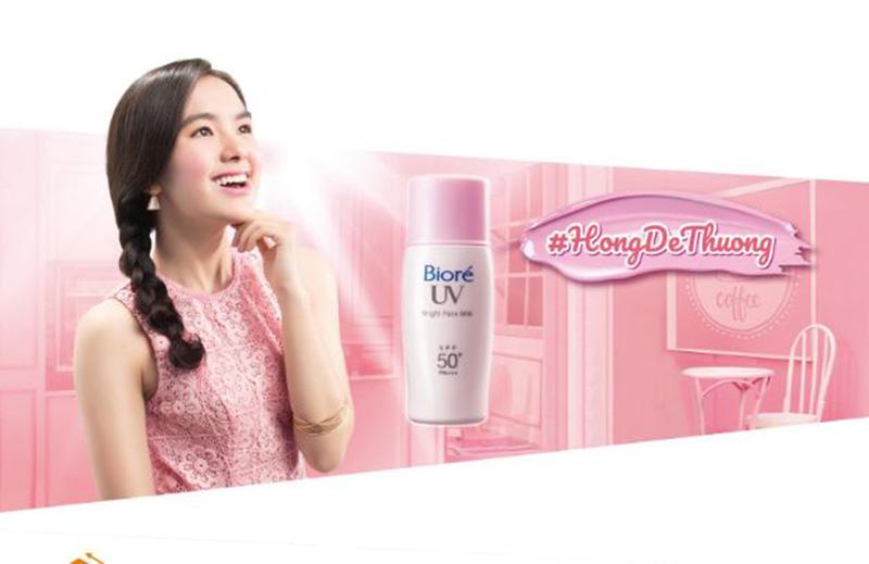 Sữa chống nắng nâng tông da sáng hồng tự nhiên Biore Bright Milk SPF50, PA++++